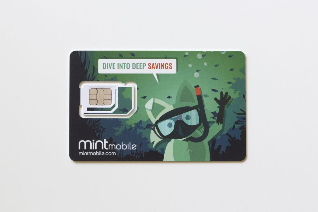 Portland, OR, USA - July 15, 2020: A new Mint Mobile sim card is